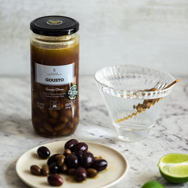 GOUSTO - Gourmet Organic Kalamata Olives With Coriander & Tea are perfect with martini