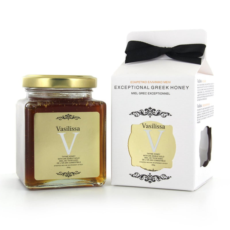 Organic Raw Greek Honey with Edible Gold. 24K gold flakes in thyme honey from organic food artisans from Greece. Perfect gourmet gift