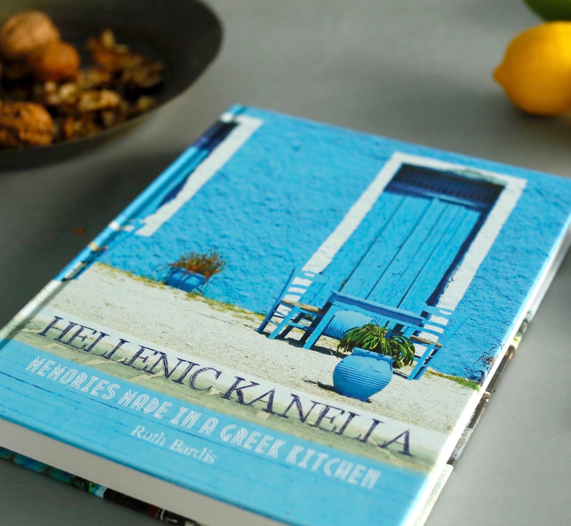 "A perfect gourmet gift for foodies & ideal for dads who love to cook! Ruth Bardis' author signed multi-awarded book Hellenic Kanella, Memories Made in a Greek Kitchen, and Kali Orexi's stylish denim ""style"" apron together will make anyone love cooking. Buy online for delivery anywhere in Australia by Grecian Purveyor"