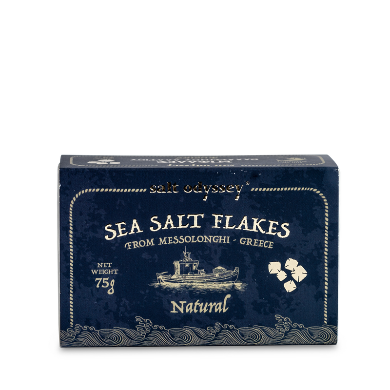 Natural Fine Sea Salt Flakes Premium, pure, pyramid-shaped sea salt flakes that are made naturally at the salt ponds of Messolonghi.