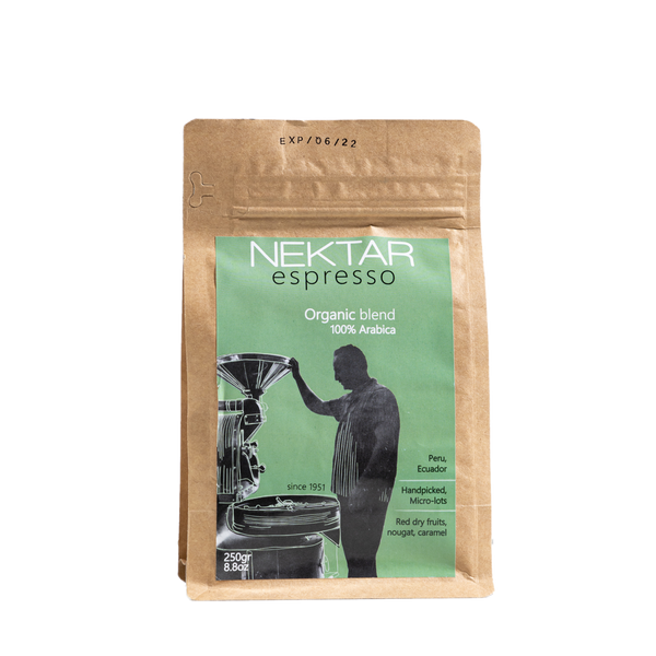 Certified organic espresso coffee from micro batch peru farms and in biodegradable packaging. grecian purveyor, gourmet grocer in sydney australia.