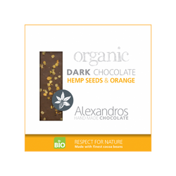 Organic Handmade Dark Chocolate 70% Hemp Seeds and Orange