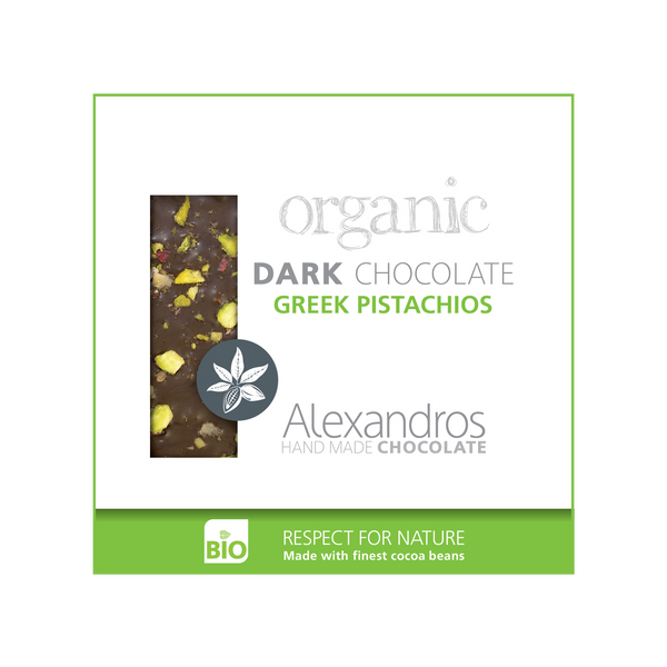 Organic Handmade Dark Chocolate 70% cacao with Greek Pistachios