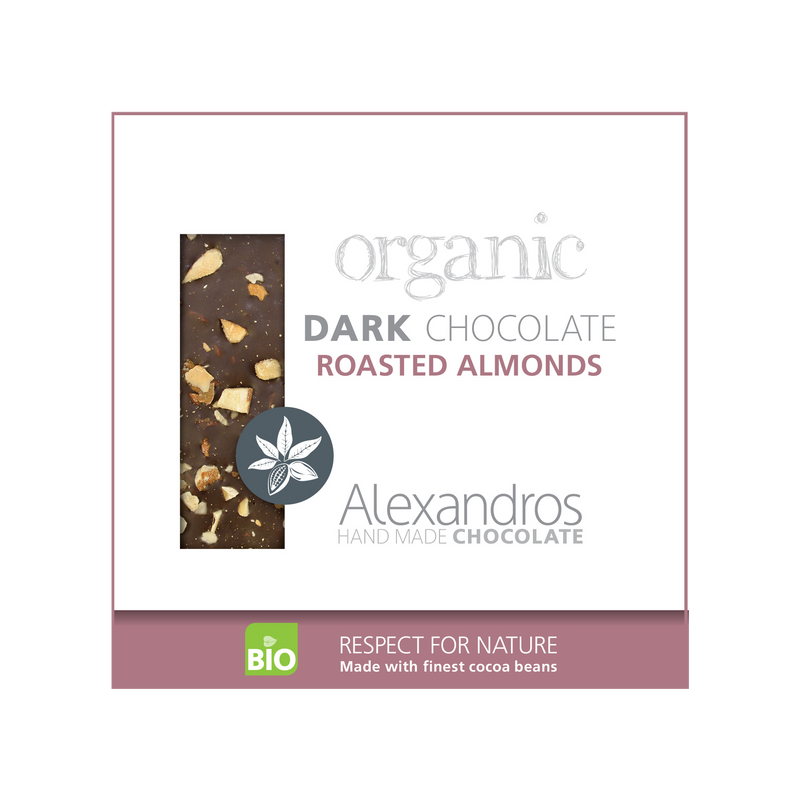 Organic Handmade Dark Chocolate 70% with Roasted Almonds