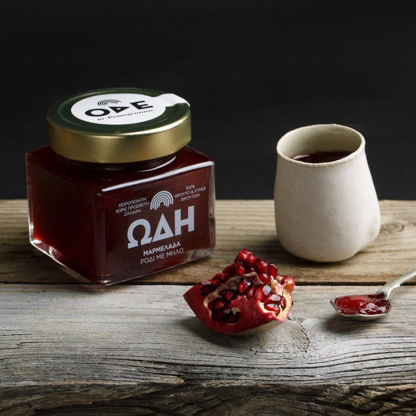 Pomegranate jam / marmalade with no sugar. Best organic pomegranate jam with high fruit content from gourmet grocer Grecian Purveyor in Australia. Australia's only Authentic Greek providore.