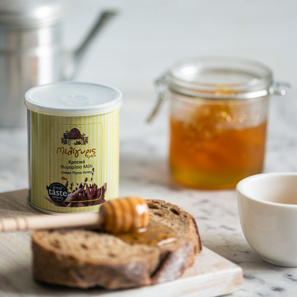 Meligyris - Cretan Raw Thyme Honey. exceptional honey, rich in aroma & full of flavour. A pure, unfiltered, cold-pressed raw honey with a golden colour, a rich botanical aroma & an intense taste