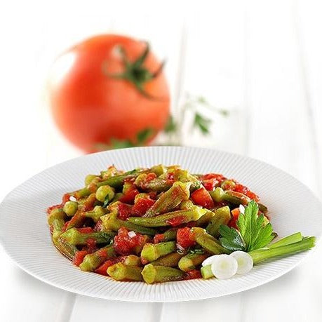 Greek baby okra in tomato sauce with natural ingredients. A healthy and vegan meal ready to eat. Buy now and online in Sydney, Melbourne, Adelaide, Perth, Brisbane and anywhere in Australia.