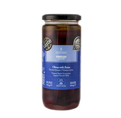 Organic Gourmet Kalamata Olives with Ouzo - Pinelies