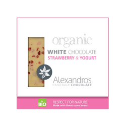organic white chocolate with yoghurt and strawberry. tastes like strawberry cheesecake. artisan chocolates by grecian purveyor australia