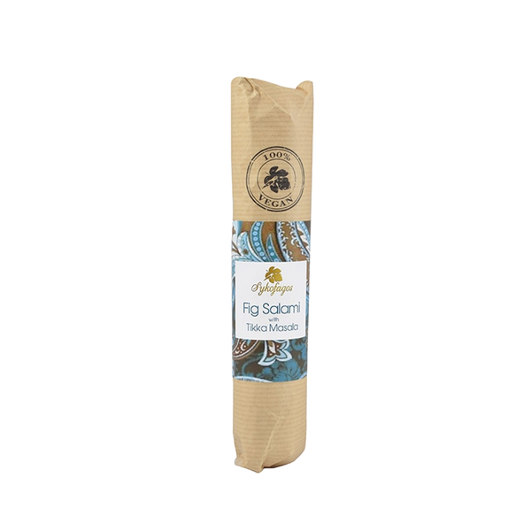 Vegan sausage made with dried figs from Greece for gourmet grocer Grecian Purveyor in Sydney. Best quality vegan fig salami in Australia. Buy online and get free delivery.