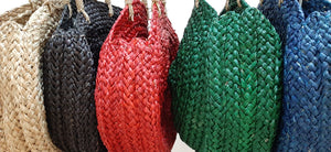 colourful round straw bags