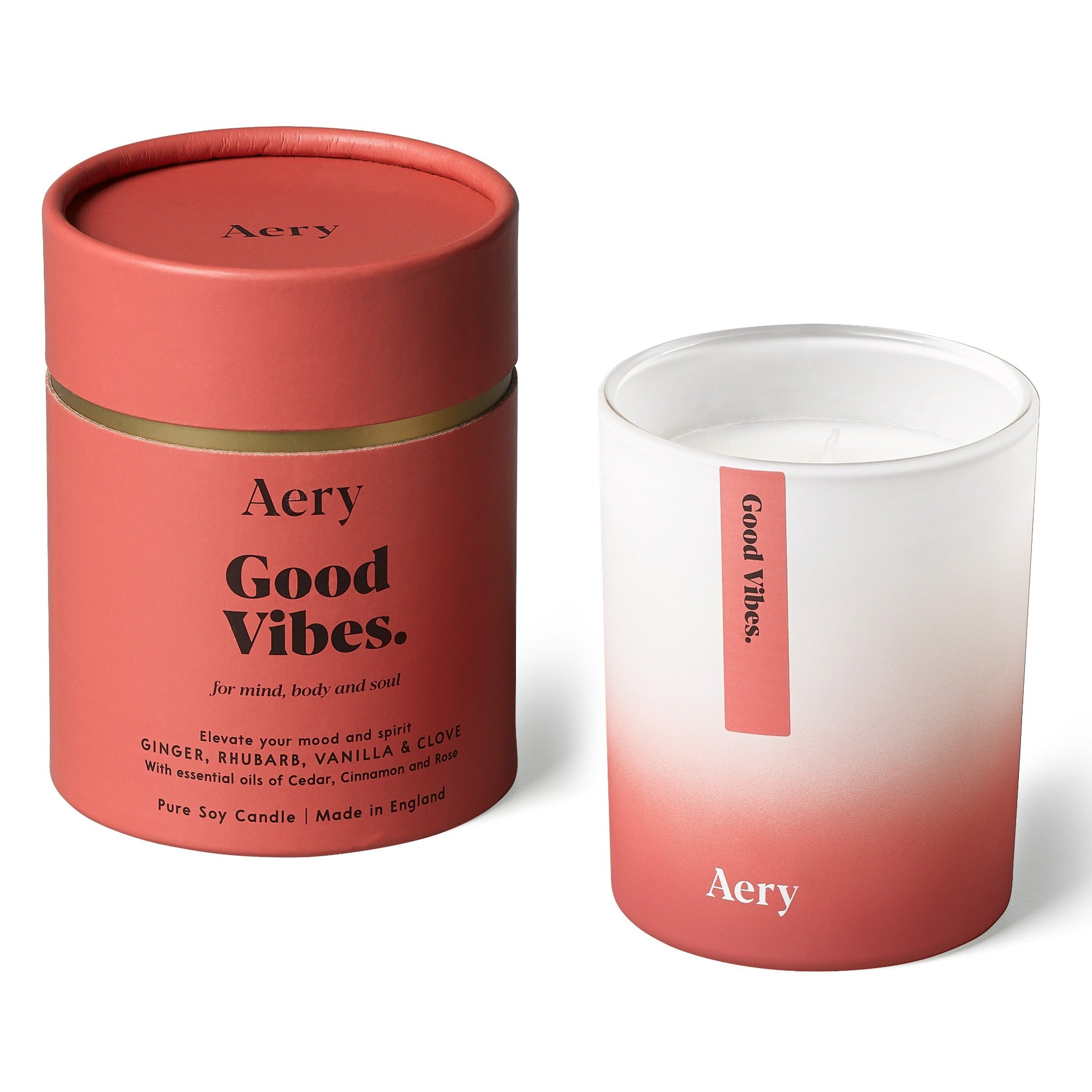 Aery Good Vibes Aromatherapy scented candle - Ginger Rhubarb Vanilla Clove - 200 gr - Pure soy wax
