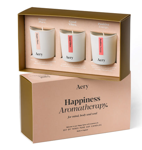 Aery Happiness Aromatherapy set of 3 candles stimulate and motivate the senses. Their natural aromas will soothe your mind, body and soul -
