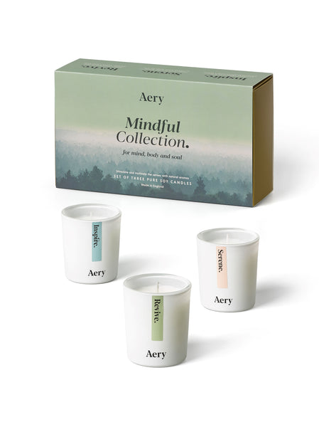 Aery Mindful Gift set of 3 candles to stimulate and motivate the senses. Take a long deep breath and let the healing power of natural aromas soothe your mind, body and soul