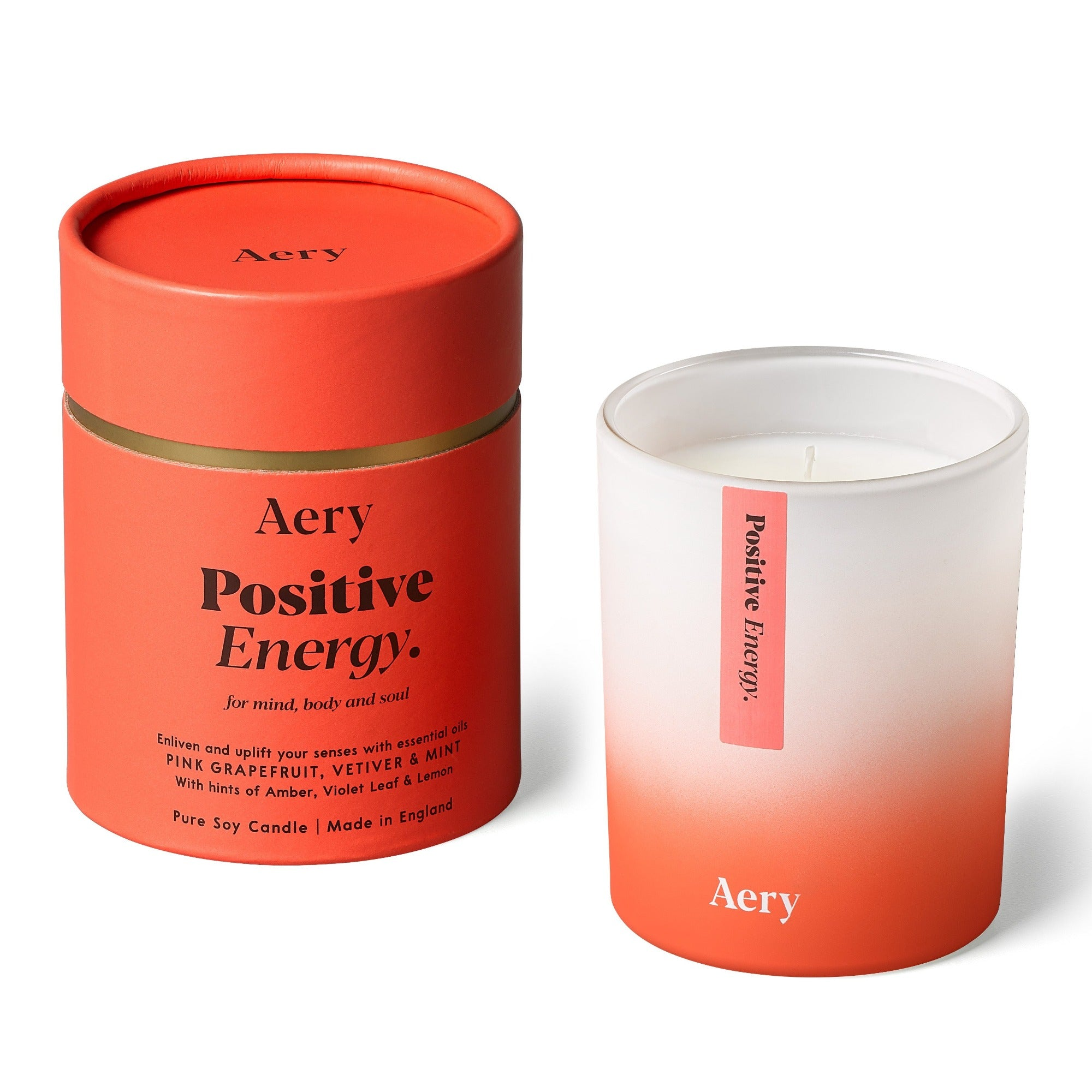 Aery Positive Energy Scented Candle - pink grapefruit  vetiver mint - pure soy wax - made in England