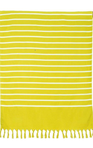 Harmony Striped Beach Towel yellow and white