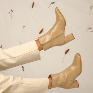 Leonora Leather Ankle Boots Beige by Polka