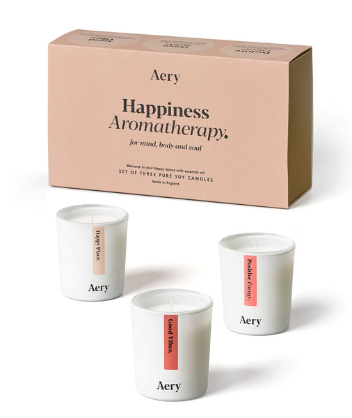 Happiness box set candles - Aery Happiness Aromatherapy candles stimulate and motivate the senses. Their natural aromas will soothe your mind, body and soul -