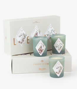 Kerzon Set of 3 candles, best-sellers from Kerzon Herbarium collection .  Scents of orange blosson, Corsican Chestnut , blackberry and blackcurrant and mint