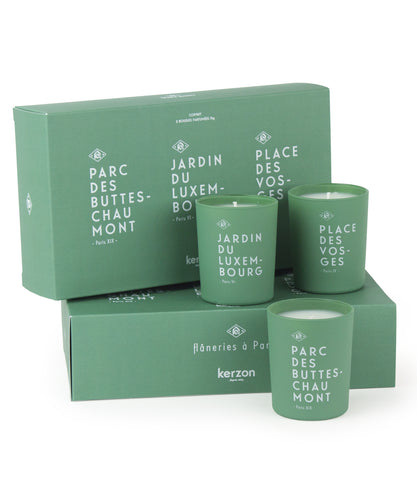 ''Les Flaneris de Paris'' Box set of 3 home candles inspired  by the most famous areas of Paris - Made in France