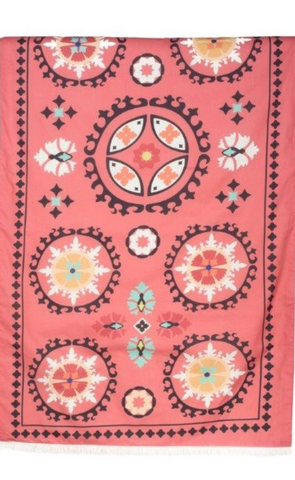 Harmony Beach Towel Double Face - Coral - Woven on front side and soft terry fabric on the other