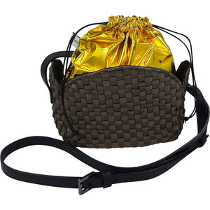 Ribbon and Leather Cross-Body Bag