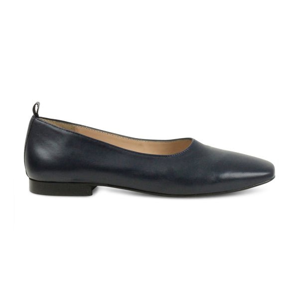 Beatrix flat leather ballerina | navy