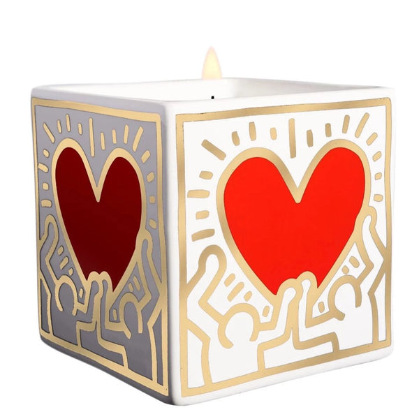 Keith Haring | Red Heart With Gold | Square Perfumed Candle