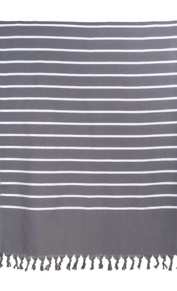 Harmony Striped Beach Towel - grey and white