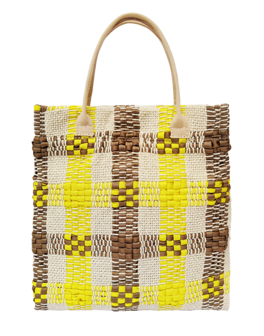 Striped Woven Mini Tote Bag