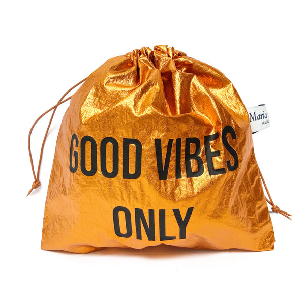 ''Good Vibes Only'' laminated Pouch Bag Maria La Rosa