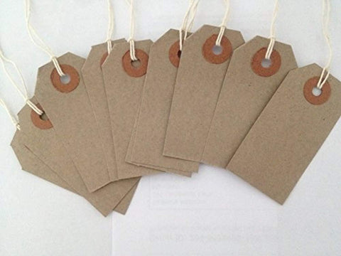 50 Small Brown/Buff (Manilla) Strung 70x35mm Tag/Tie On Luggage Labels - Offer Games