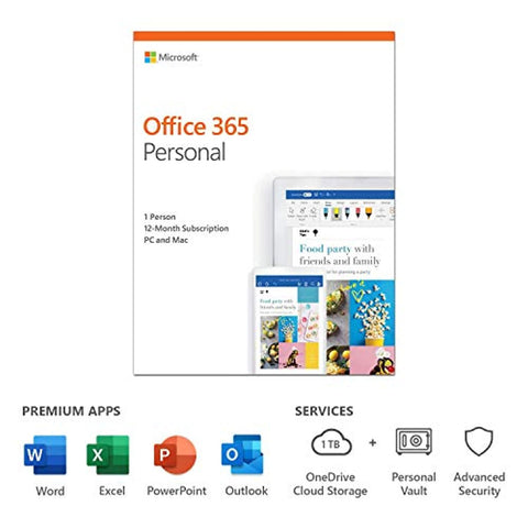 Microsoft Office 365 Personal | 1 user | 1 year (PC/Mac Download Code)