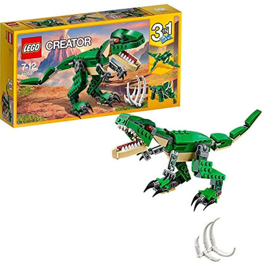 LEGO 31058 Creator Mighty Dinosaurs Toy, 3 in 1 Model, Triceratops and Pterodactyl Dinosaur Figures, Modular Building System - Offer Games