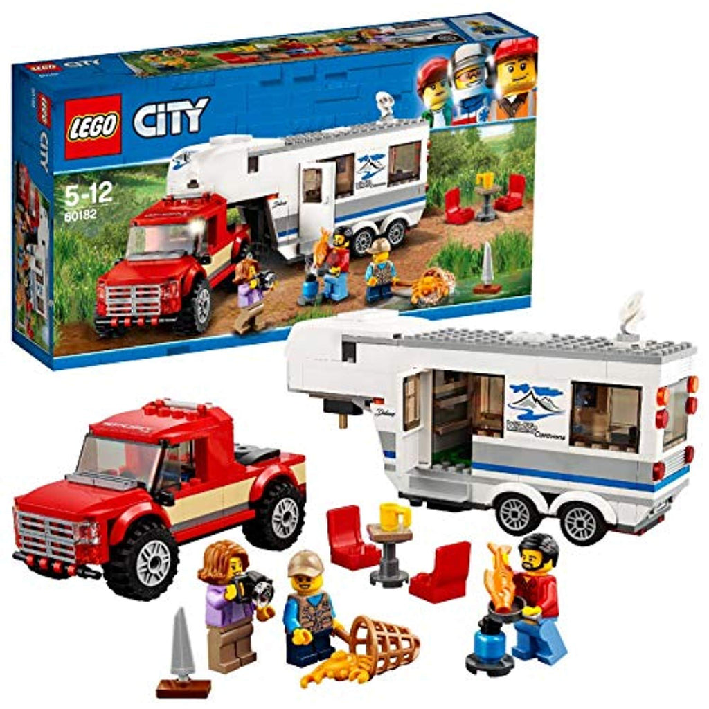 LEGO 60182 City Great Vehicles Pickup and Caravan Truck Toy with 3 Explorer Minifigures, Holiday Sets for Kids - Offer Games