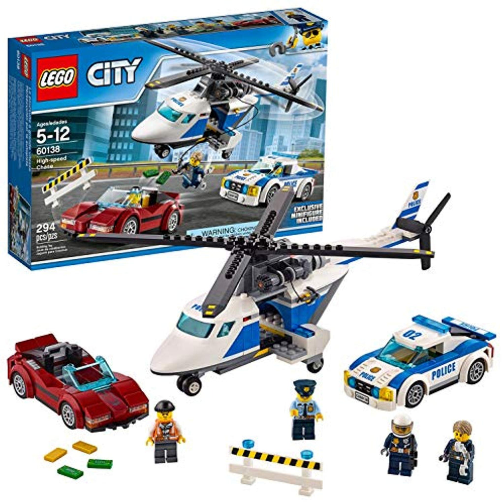 LEGO 60138 City Police High-speed Chase Playset, Helicopter Toy and Sports Car, Crook's Escape Set for Kids - Offer Games