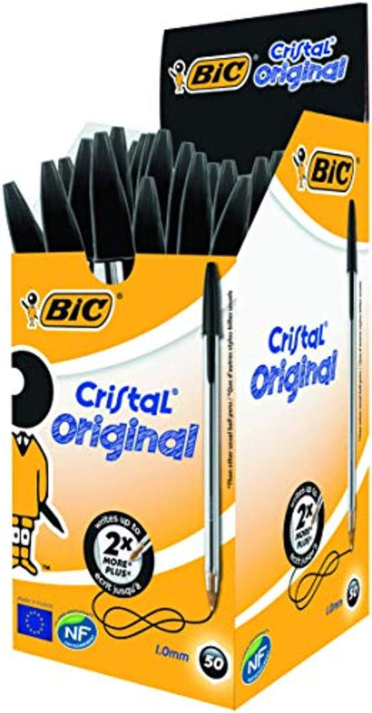 BIC Cristal Original Ballpoint Pens Medium Point (1.0 mm) – Black, Box of 50 - Offer Games