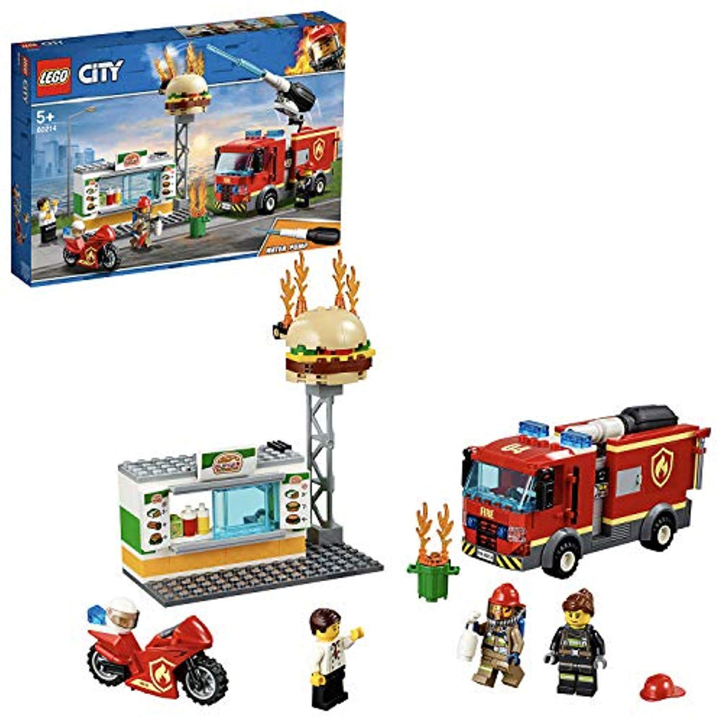 LEGO 60214 City Fire Burger Bar Fire Rescue Building Set with Fire Engine Truck and Motorbike Toy Vehicles, Fireman Minifigure and Fire Response Unit Accessories - Offer Games