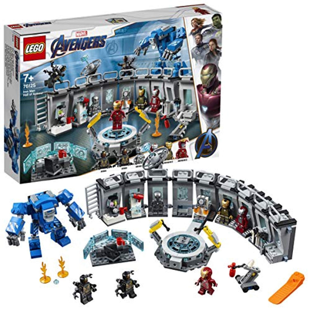 LEGO 76125 Marvel Avengers Iron Man Hall of Armor, Modular Lab with 6 Marvel Universe Minifigures, Superhero Playset - Offer Games