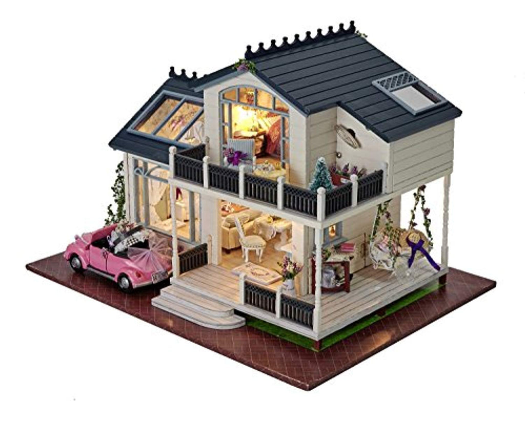DIY Wooden Dolls House Handcraft Miniature Kit- Provence villa Model & Furniture & Voice controller Music box - Offer Games