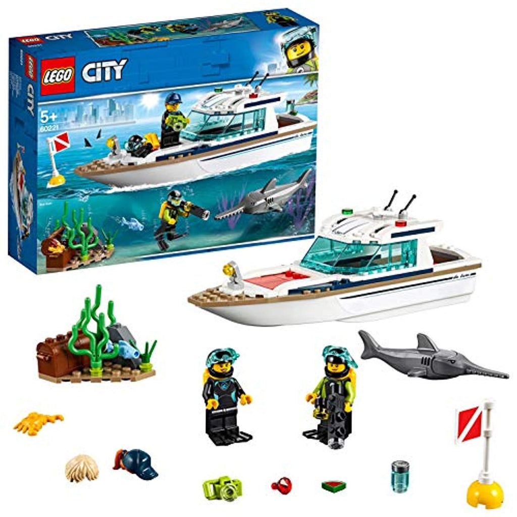 LEGO 60221 City Great Vehicles Diving Yacht Boat Toy with Diver Minifigures, Sea Creatures and Swordfish Figure, Deep Sea Set for Kids 5+ Years Old - Offer Games