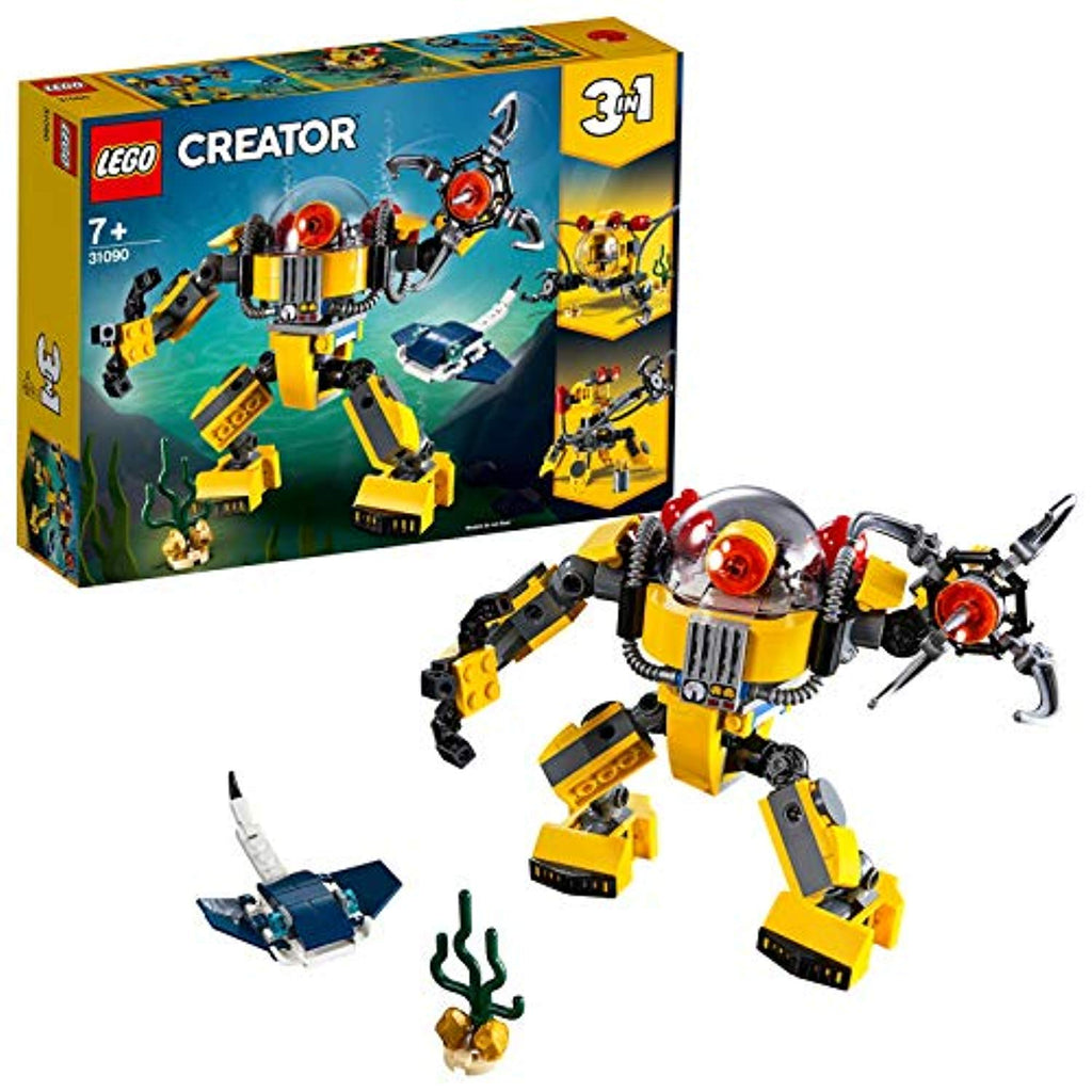 LEGO 31090 Creator 3in1 Underwater Robot Crane and Submarine, Seaside Adventures Building Set with Manta Ray Fish, Toys for Kids 7 Years Old and Older - Offer Games