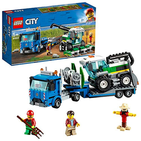 LEGO 60223 City Great Vehicles Harvester Transport with Truck and Trailer, plus Combine Tractor Toy, 2 Minifigures and Scarecrow Figure, Farm Toys for 5+ - Offer Games