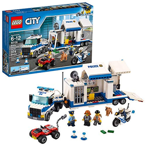 LEGO 60139 City Police Mobile Command Center Set, Truck Toy with Trailer and Motorbike, Jail Break and Chase Toys for Kids