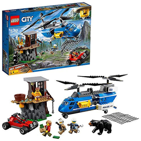 LEGO 60173 City Mountain Police Mountain Arrest Chase Chinook Helicopter with Net Shooter, Buggy, 3 Minifigures and Bear Figure, Adventure Sets for Kids - Offer Games