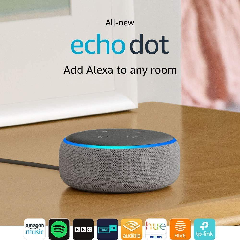 All-new Echo Dot (3rd Gen) - Smart speaker with Alexa - Heather Grey Fabric - Offer Games