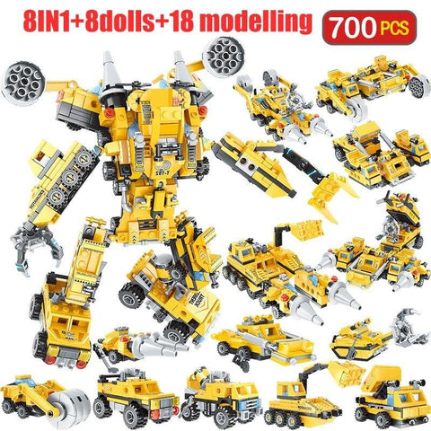 700pcs Police Yellow Car Robot Building Blocks Toy - Offer Games
