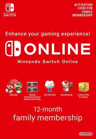 Nintendo Switch Online Membership - 12 Month Family Membership (Nintendo Switch Download)