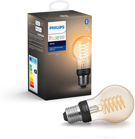 Philips Hue White Filament Single Smart LED Bulb [E27 Edison Screw] with Bluetooth, Works with Alexa and Google Assistant