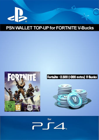 PSN credit for Fortnite - 2.500 V-Bucks + 300 extra V-Bucks - 2.800 V-Bucks DLC | PS4 Download Code - UK Account - Offer Games